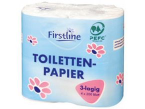 firstline toilettenpapier 3lagig 4er 200 blatt