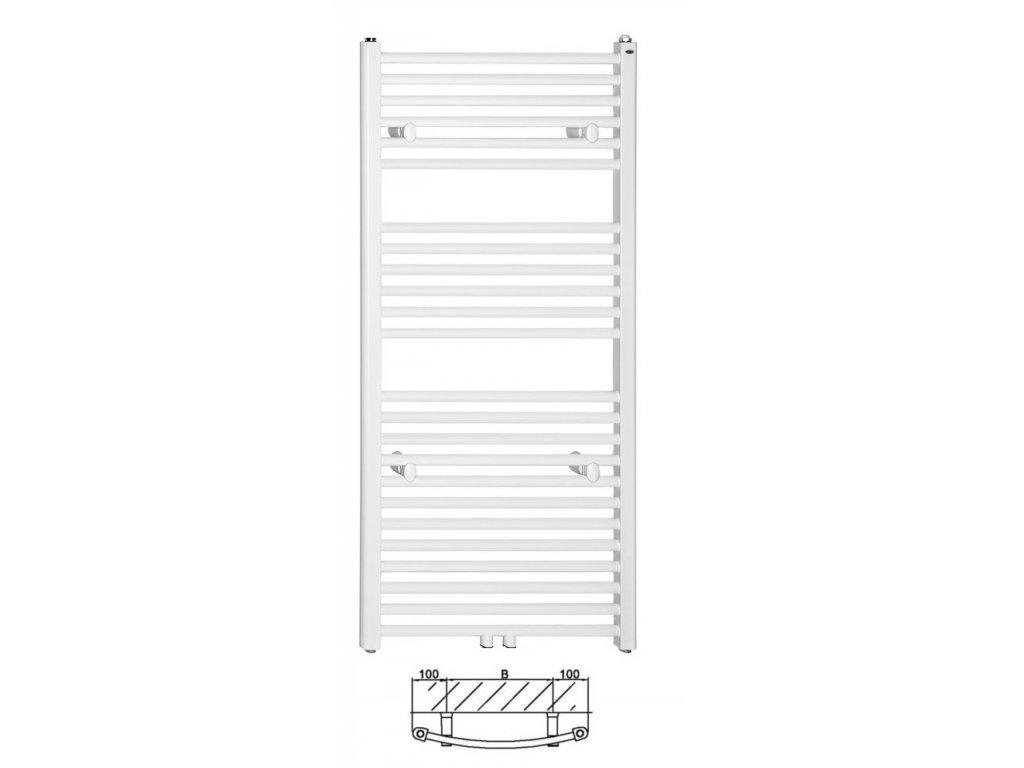 Thermal Trend KDO 450 x 1850 kombinovaný topný žebřík oblý, středové připojení KDO 450/1850 SP