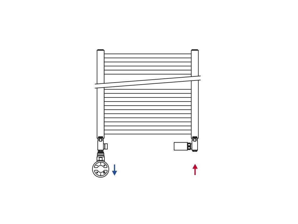 ECO COMBI připojovací sada ventilů, termostatická LEVÁ, nikl x bílá CP993