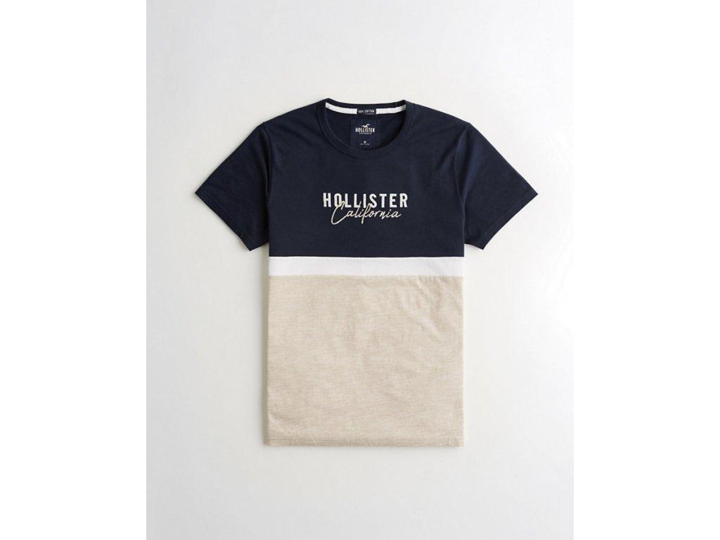 Pánské tričko Hollister - Navy, White