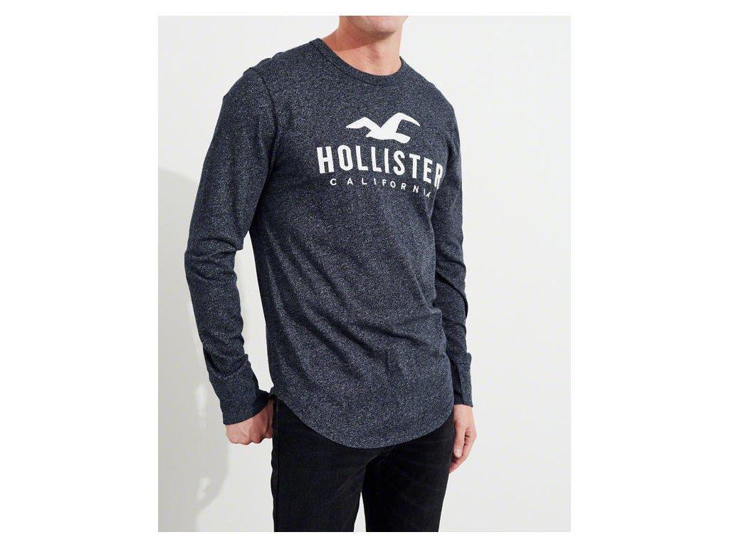 Kvalitní značkové pánské triko s dlouhým rukávem Hollister v modré barvě