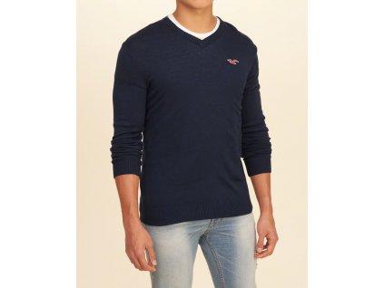 Kvalitní značkový pánský svetr Hollister v barvě navy