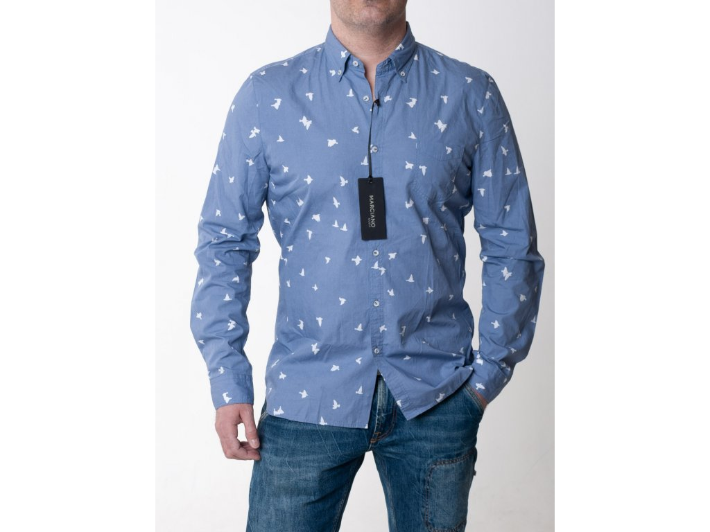 6130d6e8e4c3 Modrá košeľa s potlačou vtáčikov Guess - TOP OUTLET