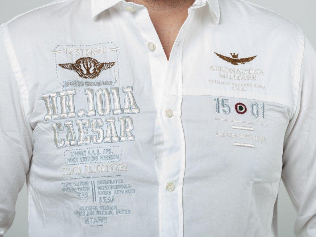 943af49294c6 Pánska biela košeľa Aeronautica Militare s nášivkami Pánska biela košeľa  Aeronautica Militare s nášivkami ...
