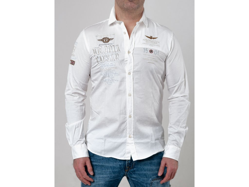24e1bbfea9a6 Pánska biela košeľa Aeronautica Militare s nášivkami - TOP OUTLET