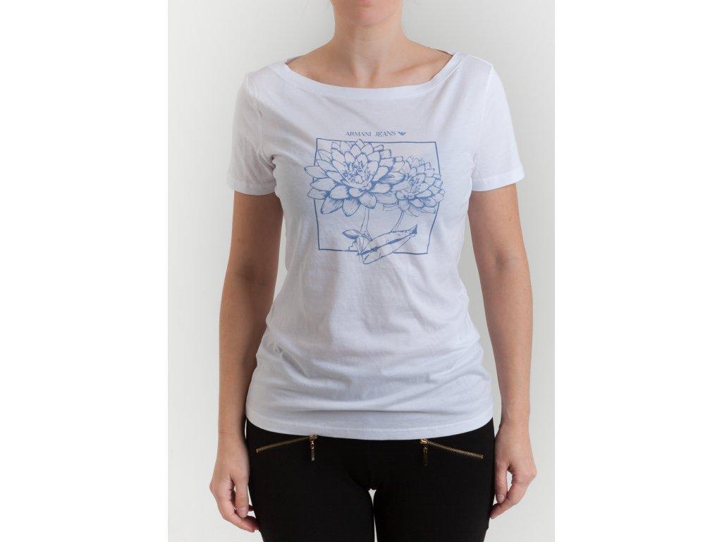 e6c9a3fa7 Dámske biele tričko s modrými kvetmi Armani Jeans - TOP OUTLET