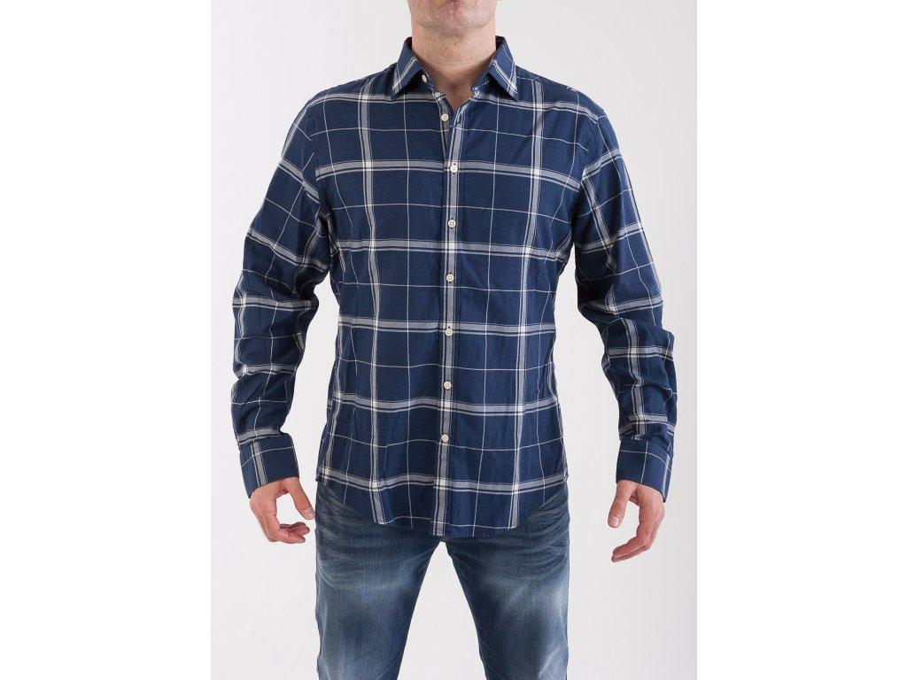 11e6ed99337a Pánska tmavomodrá kockovaná košeľa GANT - TOP OUTLET