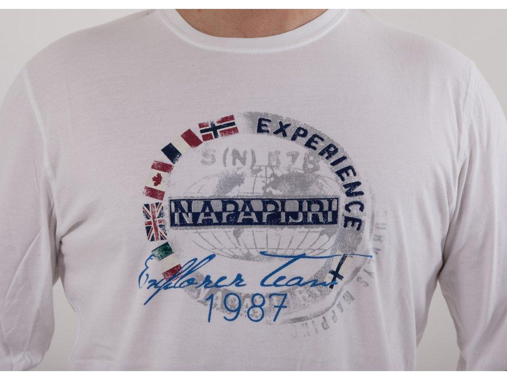 611a02514d2a Pánske biele tričko s dlhým rukávom Napapijri - TOP OUTLET