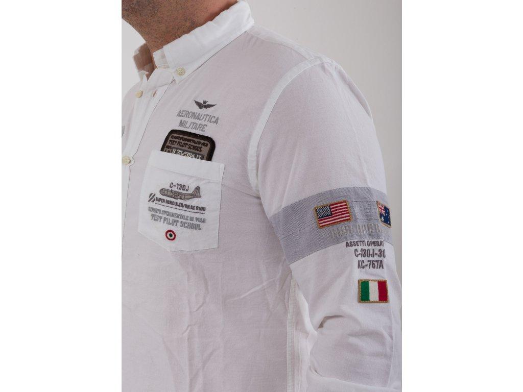 19b21a1b4def Pánska biela košeľa s nášivkami Aeronautica Militare Pánska biela košeľa s  nášivkami Aeronautica Militare ...