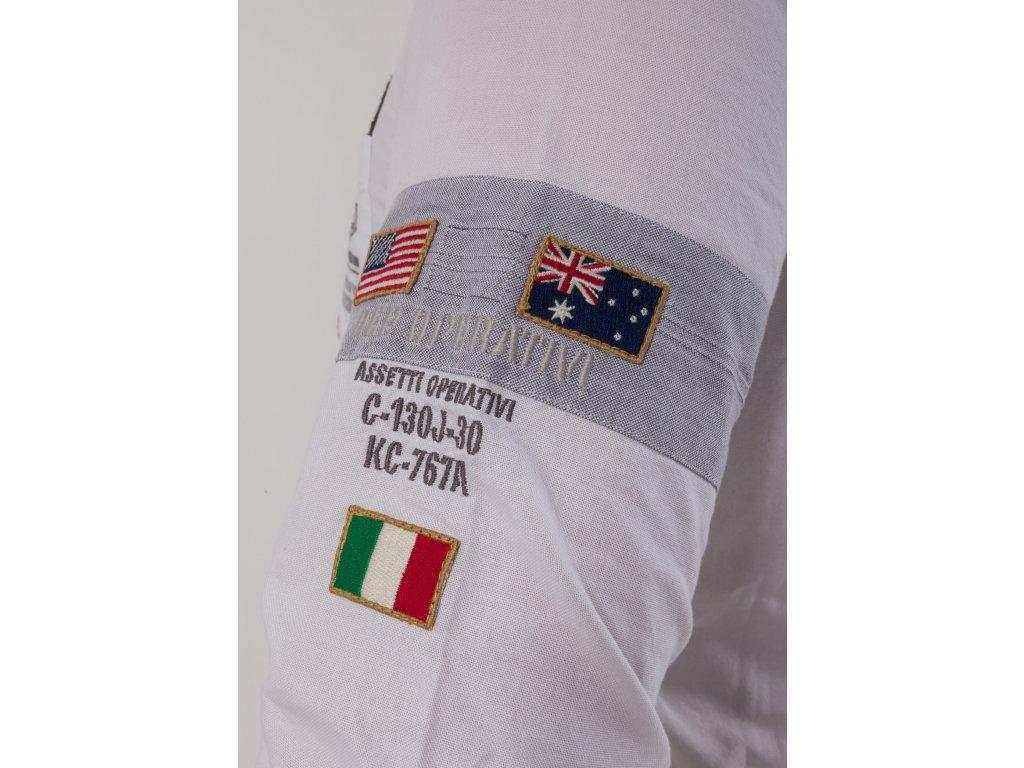 c496e617323f Pánska biela košeľa s nášivkami Aeronautica Militare - TOP OUTLET