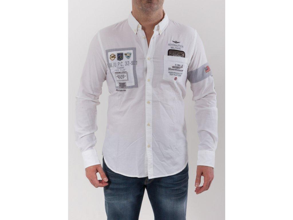 c59efa1154b1 Pánska biela košeľa s nášivkami Aeronautica Militare - TOP OUTLET