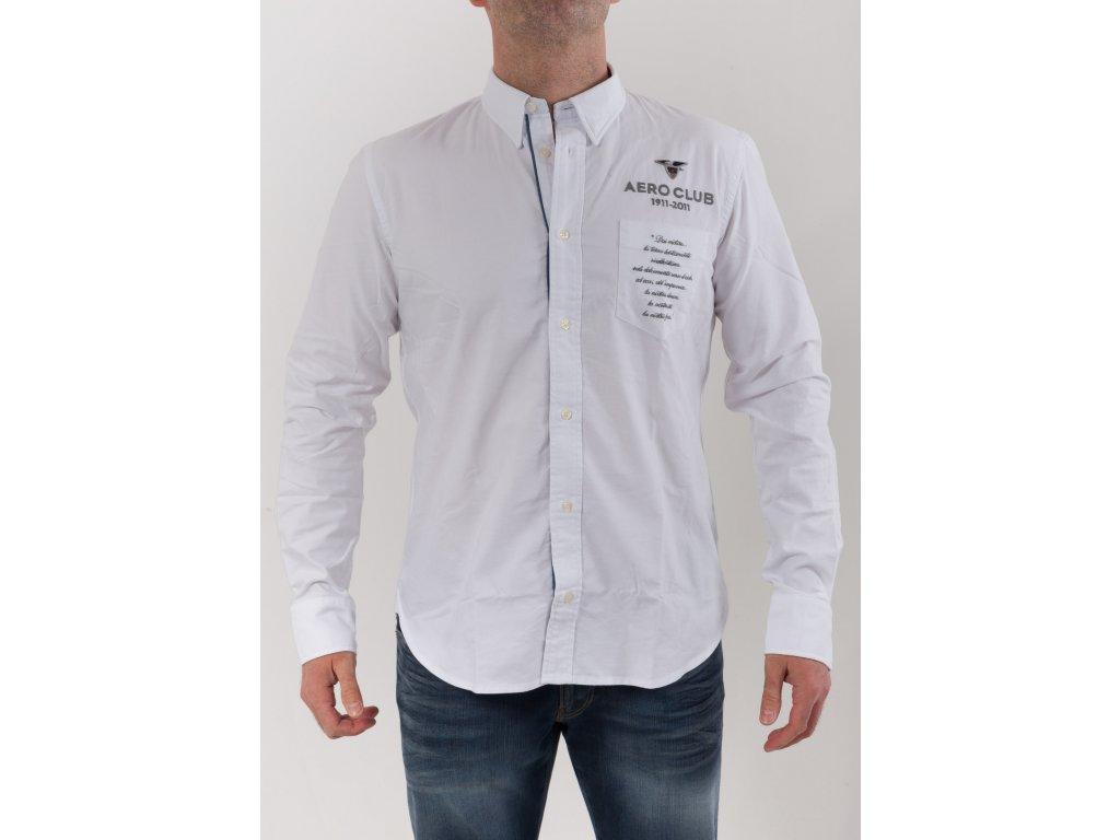 54884f51e3ea Pánska biela košeľa Aeronautica Militare - TOP OUTLET