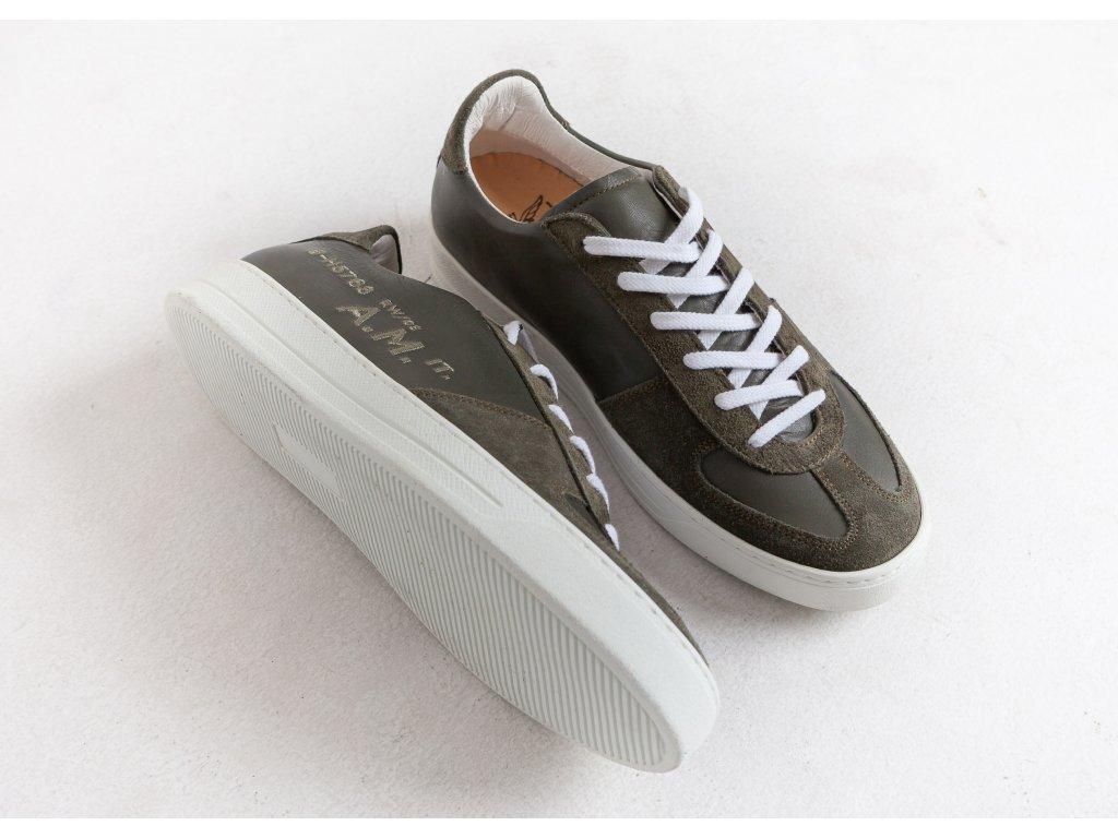 Pánske šedo-zelené topánky Aeronautica Militare e62ef81849