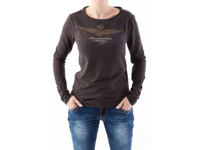 Dámske tmavohnedé tričko Aeronautica Militare