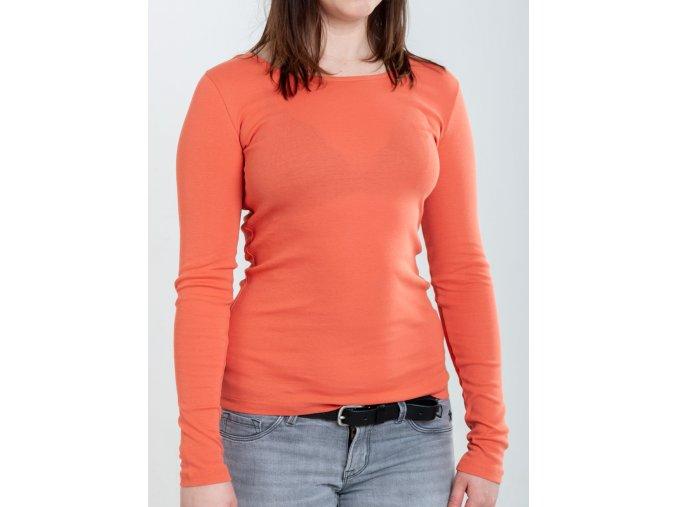 Oranžové dámske tričko s dlhým rukávom Gant