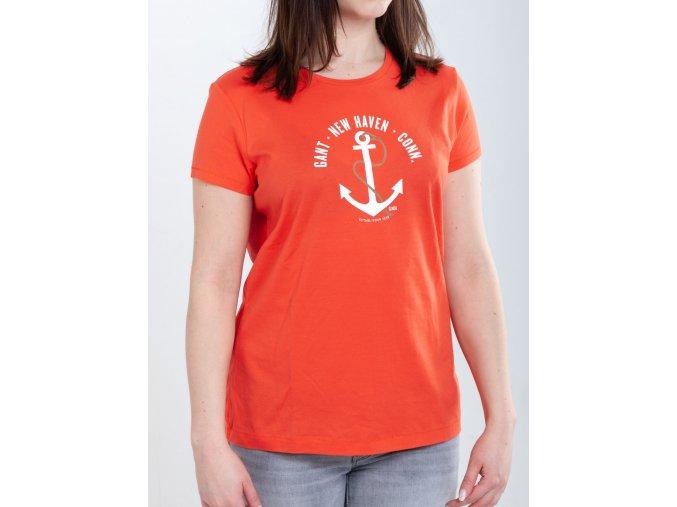 Oranžové dámske tričko Gant s kotvou