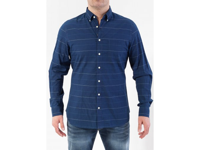 Pánska tmavomodrá pruhovaná košeľa GANT
