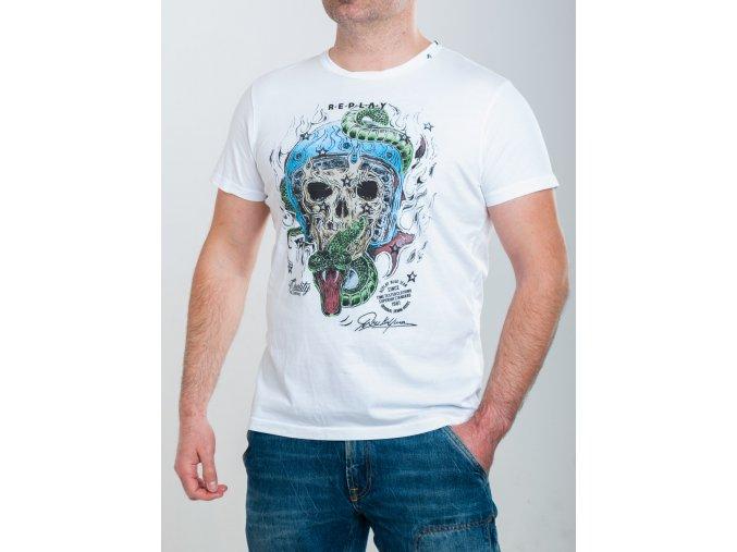 Biele tričko s potlačou Replay