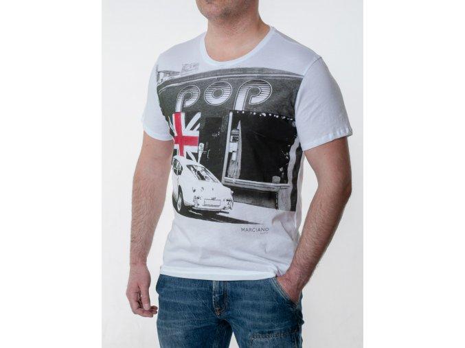 Biele tričko s veľkou potlačou Guess