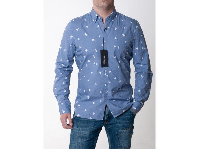 Modrá košeľa s potlačou vtáčikov Guess
