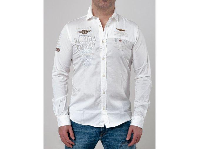 Pánska biela košeľa Aeronautica Militare s nášivkami