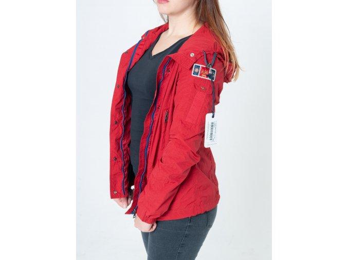Dámska červená bunda s kapucňou Aeronautica Militare