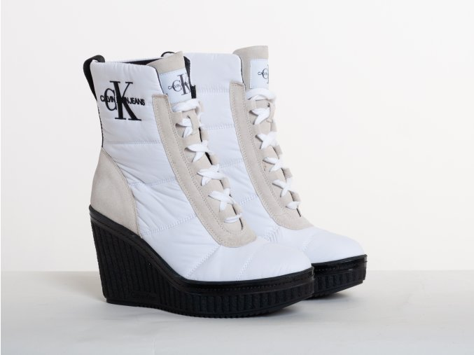 Dámske biele zimné topánky Calvin Klein Jeans