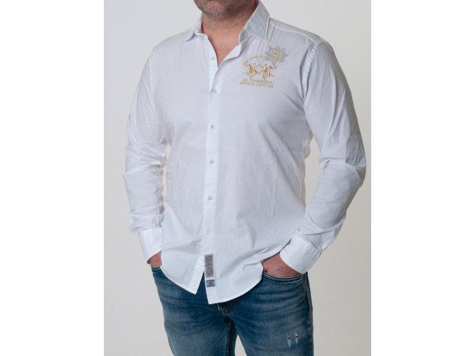 La Martina Košeľa biela pánska