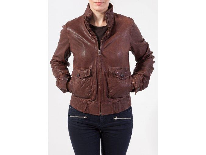 Dámska hnedá kožená bunda GANT