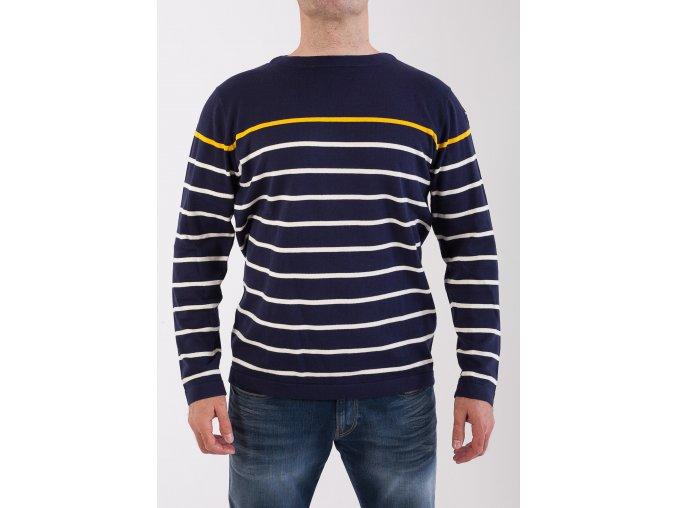 Pánsky tmavomodrý sveter s pruhmi GANT