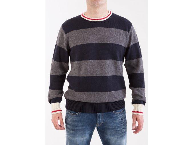 Pánsky čierny sveter so šedými pruhmi GANT