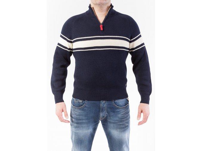 Pánsky modrý sveter s bielymi pruhmi GANT