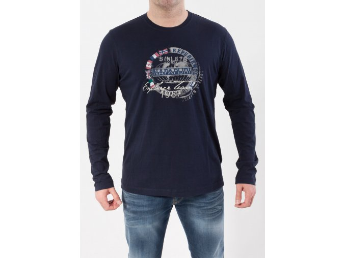 Pánske tmavomodré tričko s dlhým rukávom Napapijri