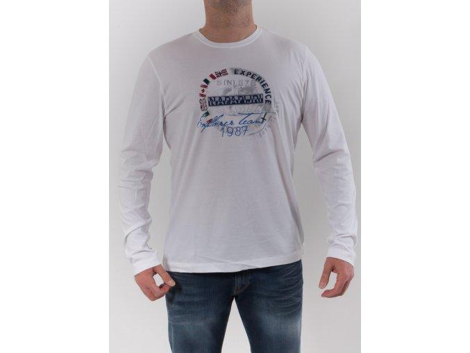 Pánske biele tričko s dlhým rukávom Napapijri