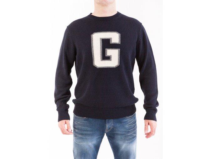 Pánsky tmavomodrý sveter s veľkým písmenom G na hrudi
