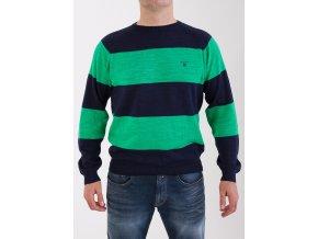Pánsky sveter so zelenými pruhmi Gant