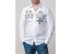 Pánska biela košeľa s nášivkami Aeronautica Militare
