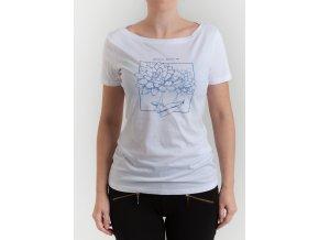 Dámske biele tričko s modrými kvetmi Armani Jeans