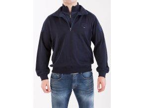 Pánsky tmavomodrý sveter so zipsami Claudio Campione