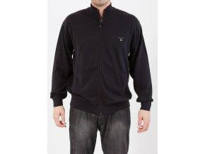 Pánsky čierny sveter so zipsovým zapínaním Gant