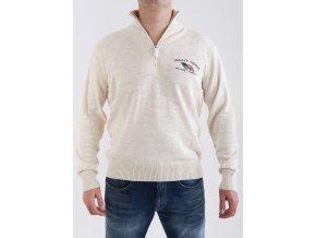 Pánsky béžový sveter so zipsom