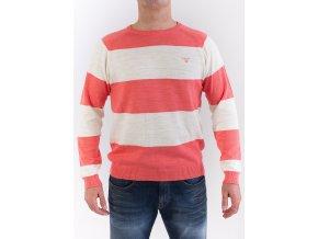 Pánsky lososový sveter s bielymi pruhmi