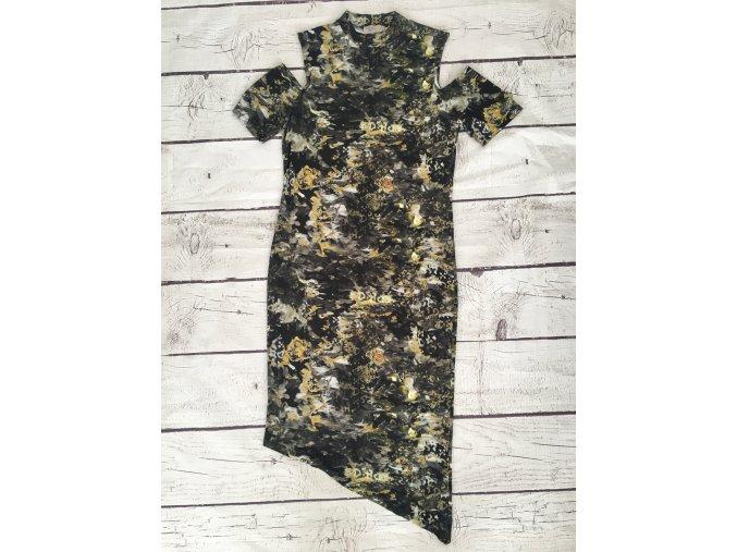 LABEL midi šaty s průstřihy na ramenou