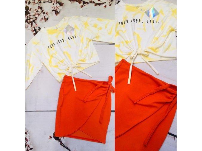 Oranžová sukně s mašlí BOOHOO