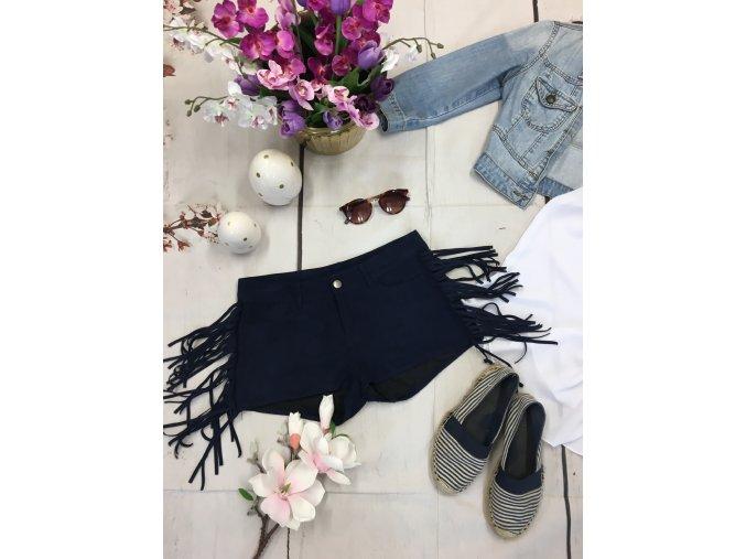 +Tmavě modré kraťasy s třásněmi H&M