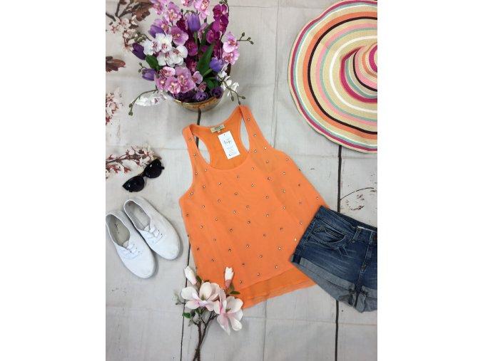 Oranžový top s kamínky Papaya
