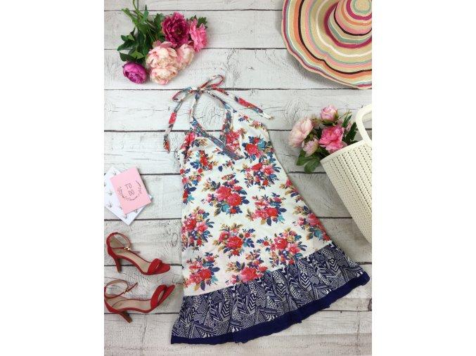 Květované šaty na zavazování za krkem