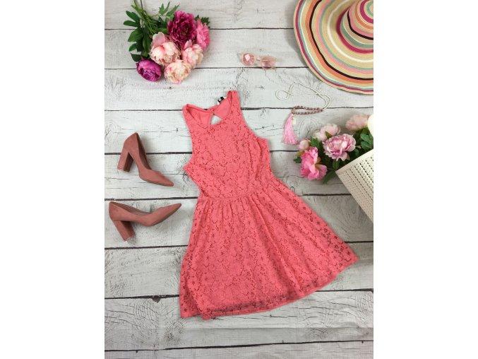Krajkové růžové šaty NEW LOOK