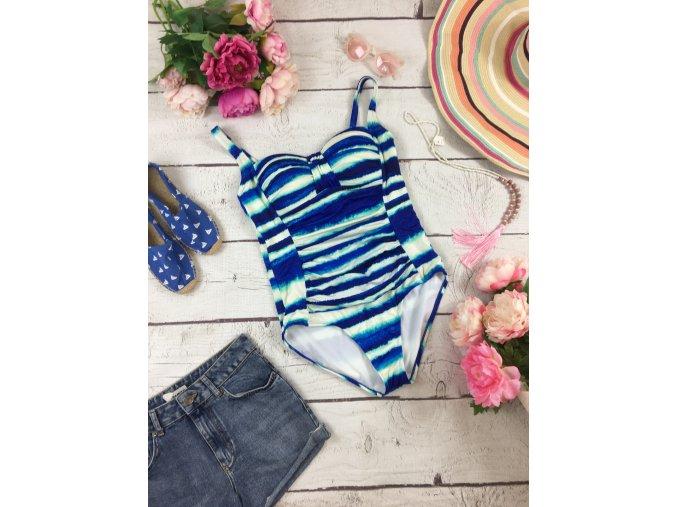 Jednodílné modro-bílé plavky M&S
