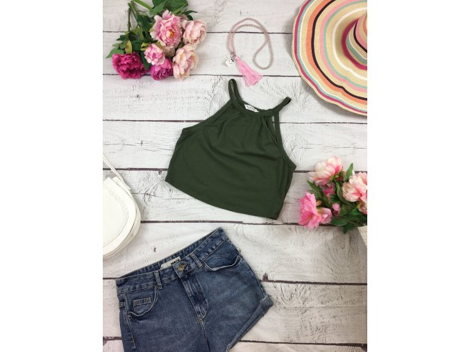 Zelený crop top Miss Selfridge